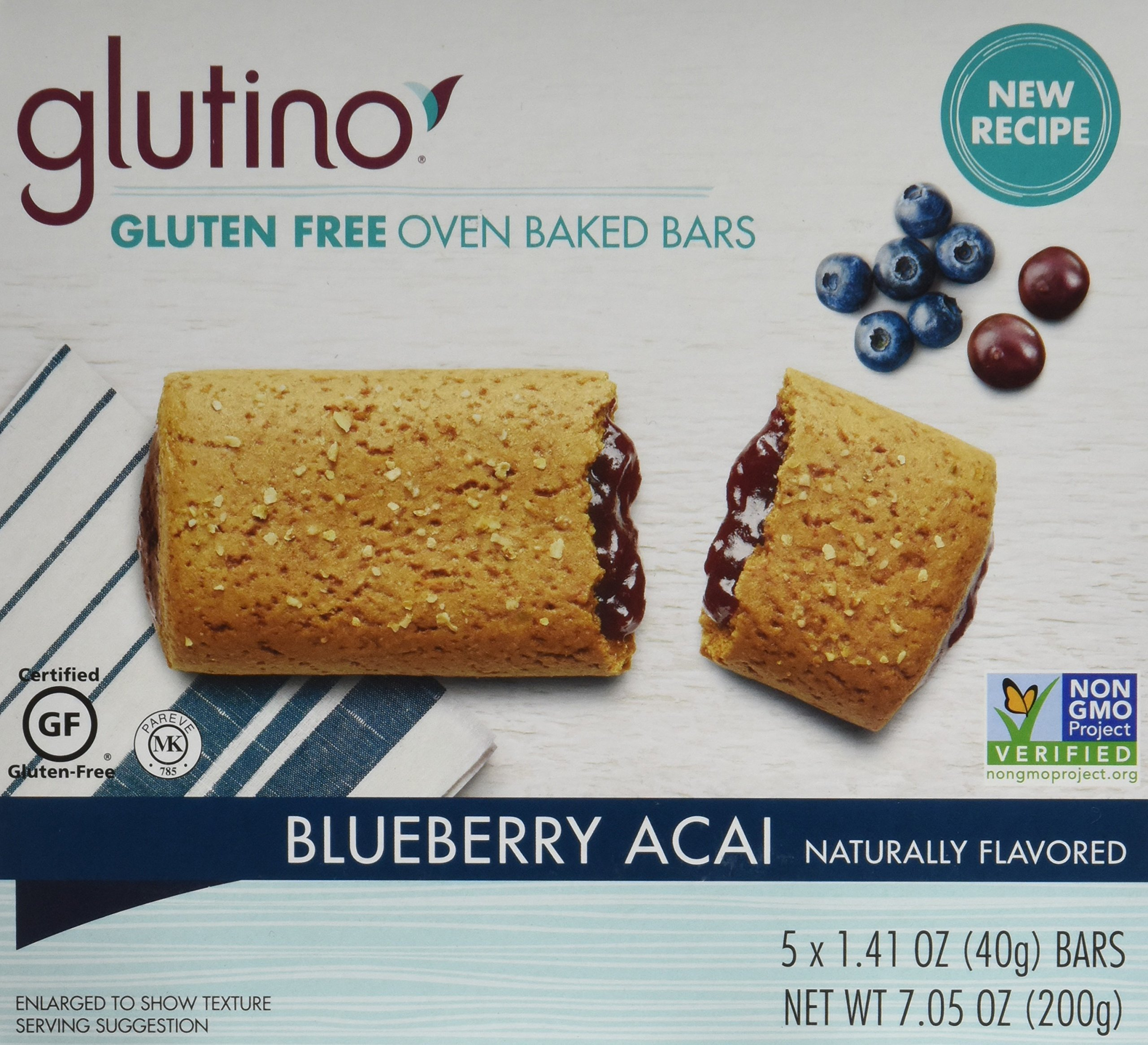 Glutino Gluten Free Breakfast Bars, Blueberry, 5-Count Boxes, 7.05oz, (Pack of 6) by Glutino