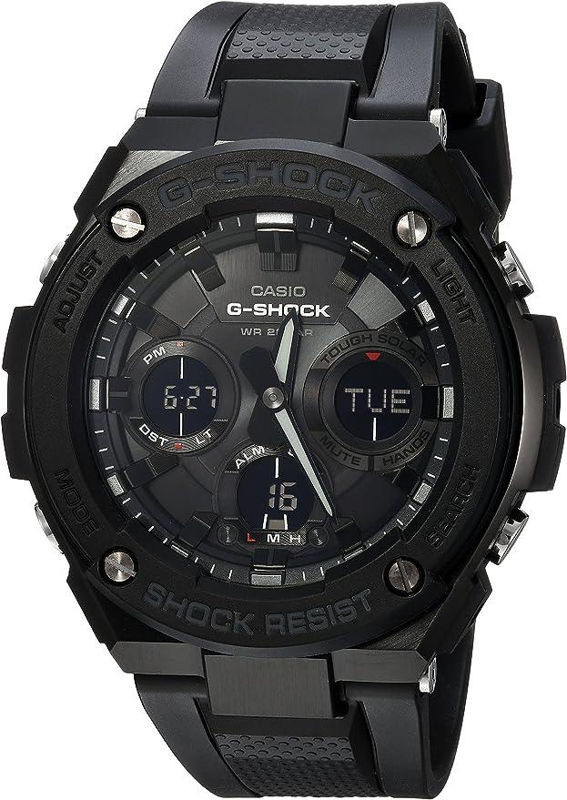 Orologio casio g-shock, al quarzo, in acciaio inox e resina, casual, colore nero, modello gst-s100g-1bcr
