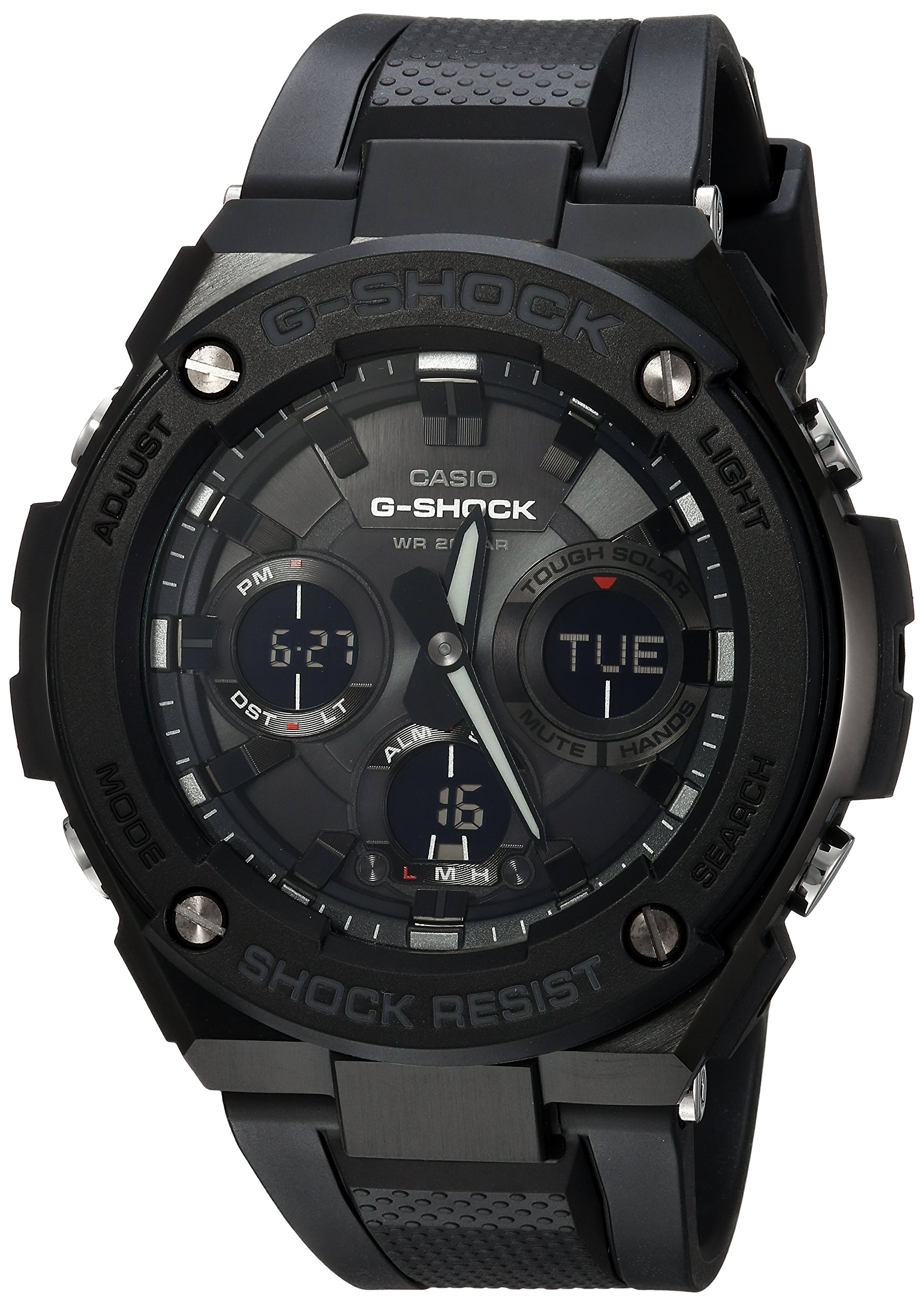 Casio Men's G Shock Stainless Steel Quartz Watch with Resin Strap, Black, 27 (Model: GST-S100G-1BCR) by Casio