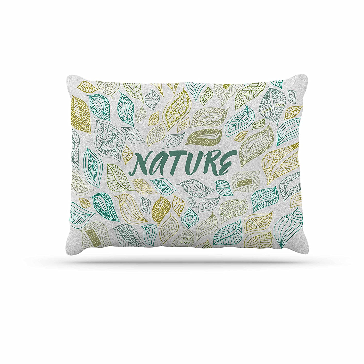 Kess InHouse Pom Graphic Design Nature Earth  White Teal Fleece Dog Bed, 30 by 40
