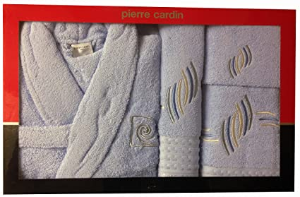 L/XL azul bebé gotas de Pierre Cardin 4 piezas Albornoz y toalla juego,