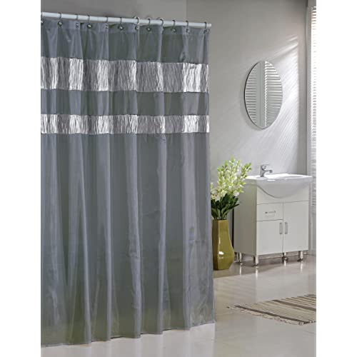 Faux Silk Fabric Shower Curtain Shimmering Metallic Accents Silver Gray