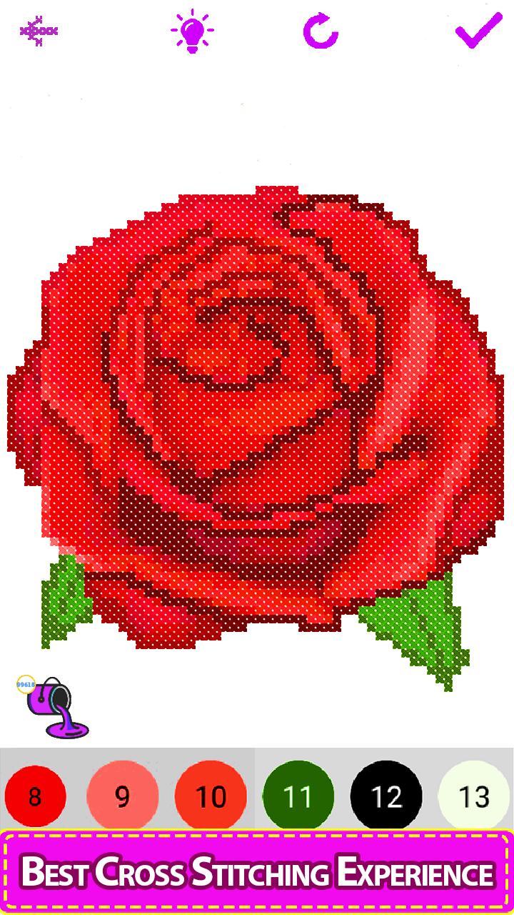 Flowers Cross Stitch - Paint by Number, Pixel Art