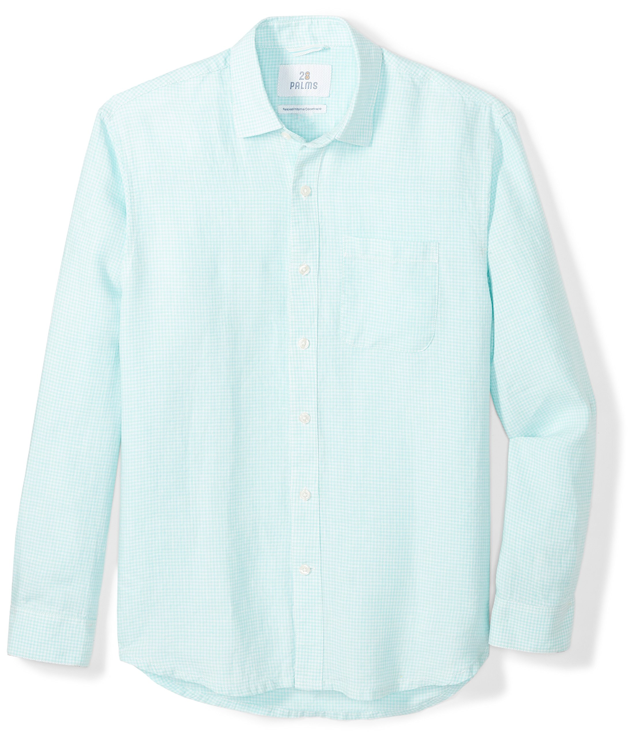 28 Palms Men's Relaxed-Fit Long-Sleeve 100% Linen Check Shirt, Aqua, Large