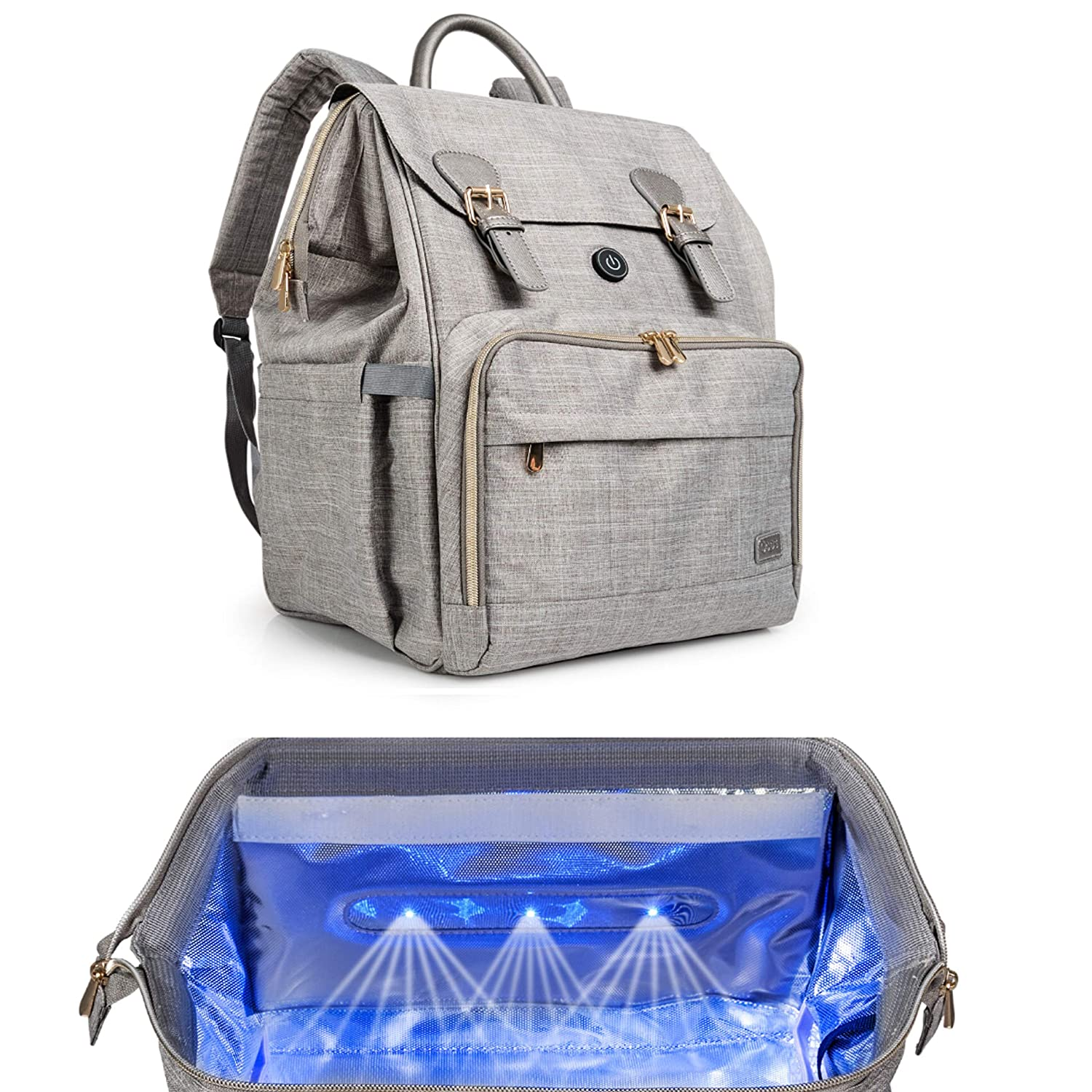 Oopsababy Diaper Bag Backpack with Cleaning Lights; Connect to Juice Pack or Wall Adapter; Designer Gray with Rose Gold Hardware Diaper Bag Organizer for Baby Boy or Girl
