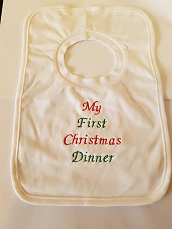 65d3a3d74 PERSONALISED CHRISTMAS BIB - MY FIRST CHRISTMAS DINNER - BEAUTIFULLY  EMBROIDERED ( ANY NAME ADDED )