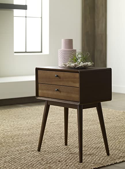 Elle Decor Rory Two Drawer Side Table, Amber