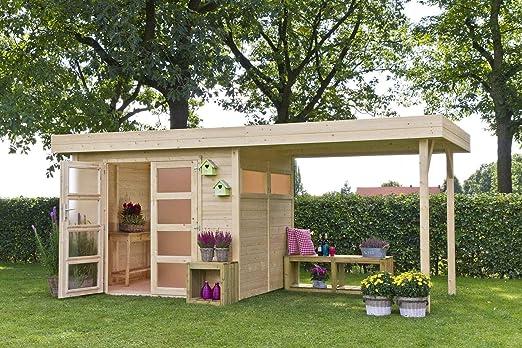 Casa Vermont con Pergola de madera de abeto de jardín: Amazon.es ...