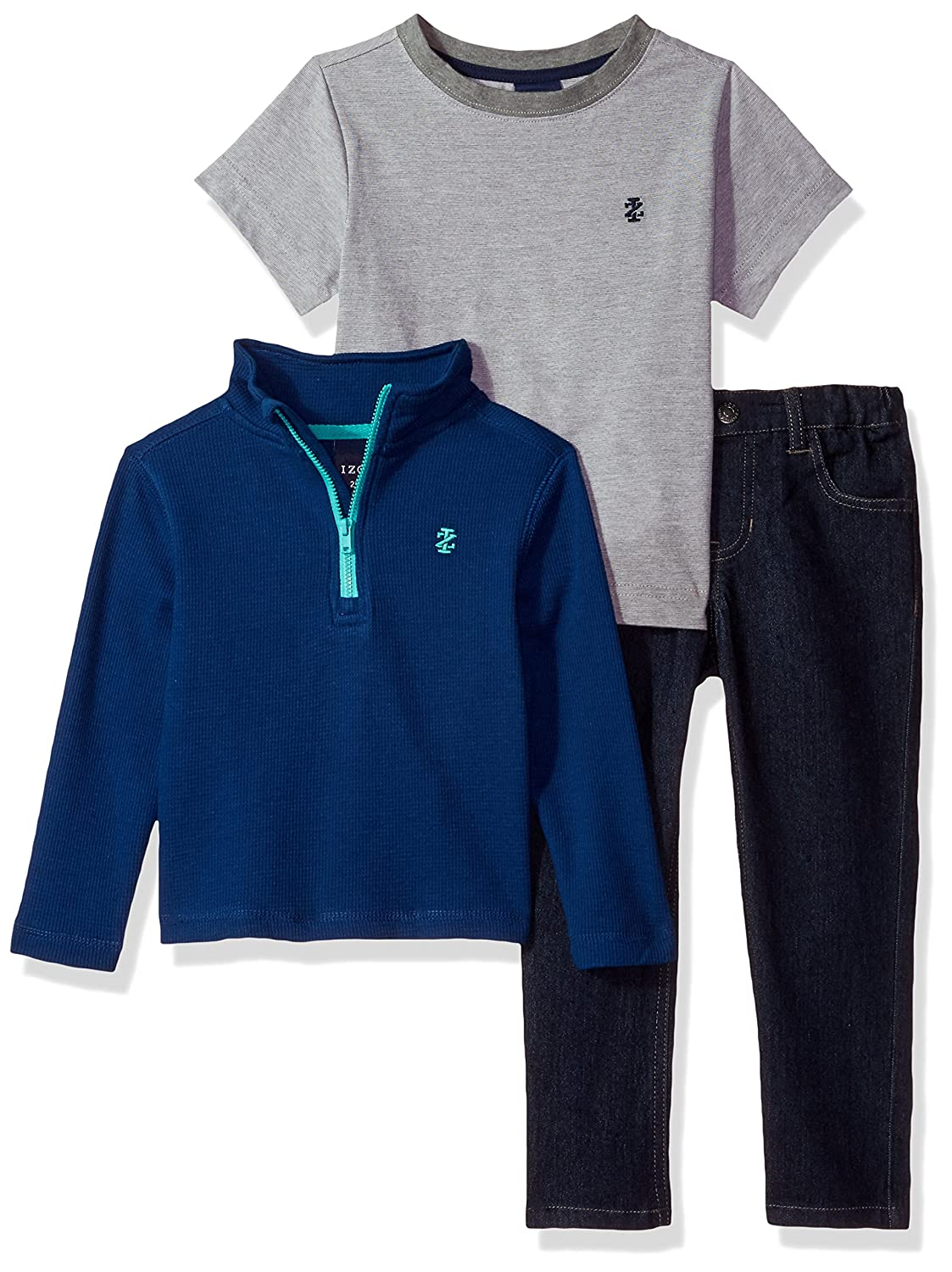 Tee IZOD Boys Three Piece 1//4 Zip Sweater and Denim Pant Set