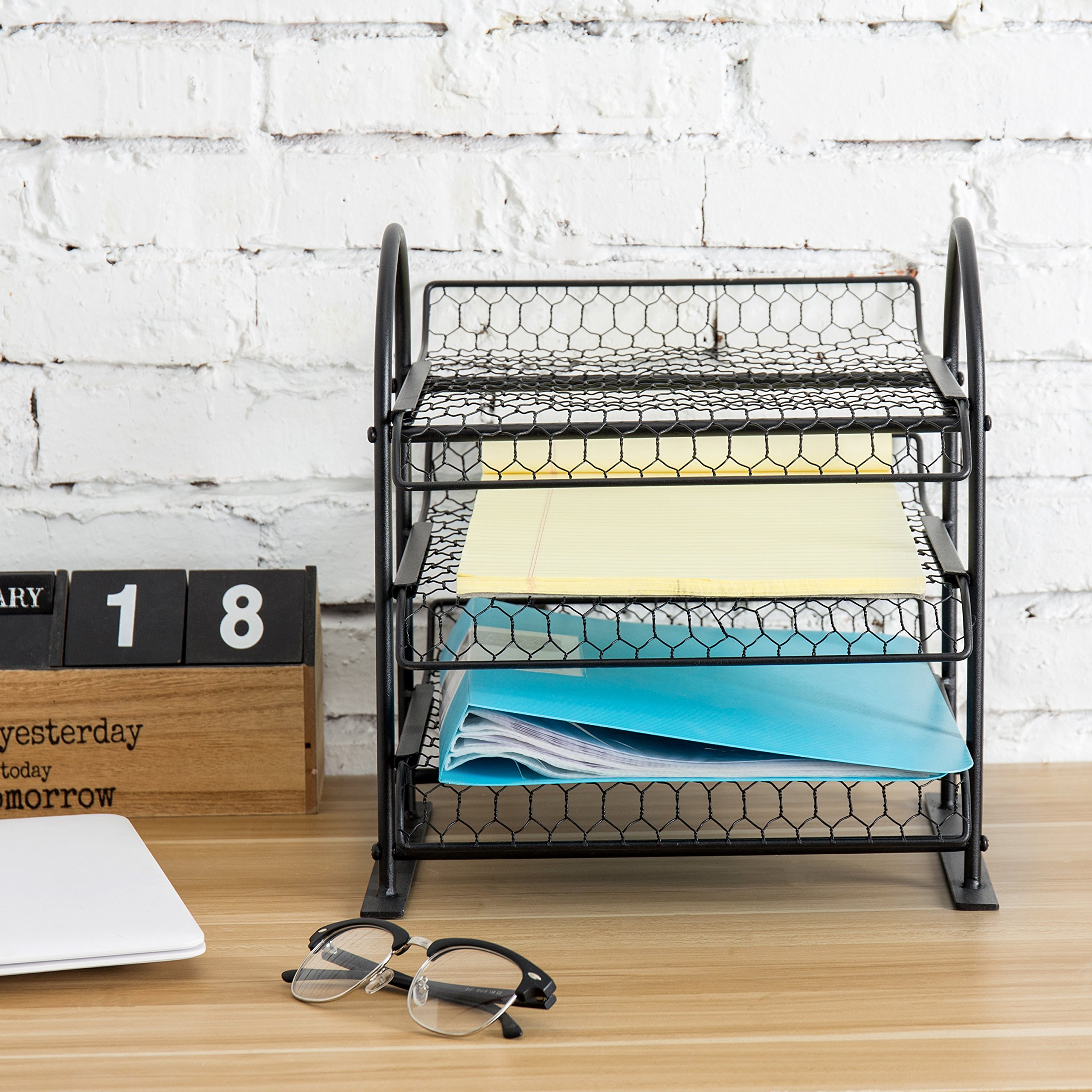 MyGift Metal Chicken Wire Office Document File Organizer with 3-Tier Sliding Trays by MyGift (Image #2)