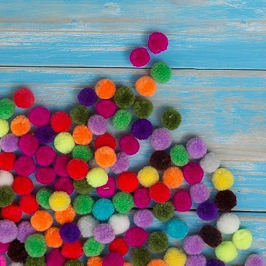 Relaxdays Pompons color/és Loisirs cr/éatifs Boules DIY d/écoration 2 cm Set de 200 Anniversaire Mariage multicolor/é