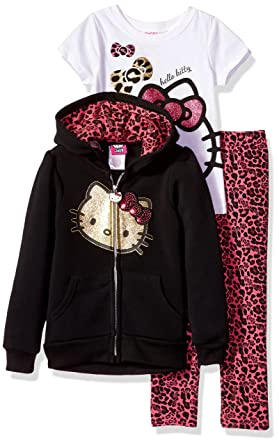2bf79ac8c Amazon.com: Hello Kitty Girls' 3 Piece Zip up Hoodie Legging Set ...