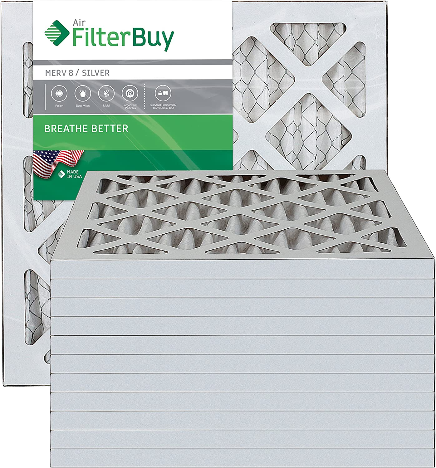 FILTERBUY 16X16X1 MERV 8 PLEATED AC FURNACE AIR FILTER (PACK OF 12 FILTERS) 16X16X1 - SILVER