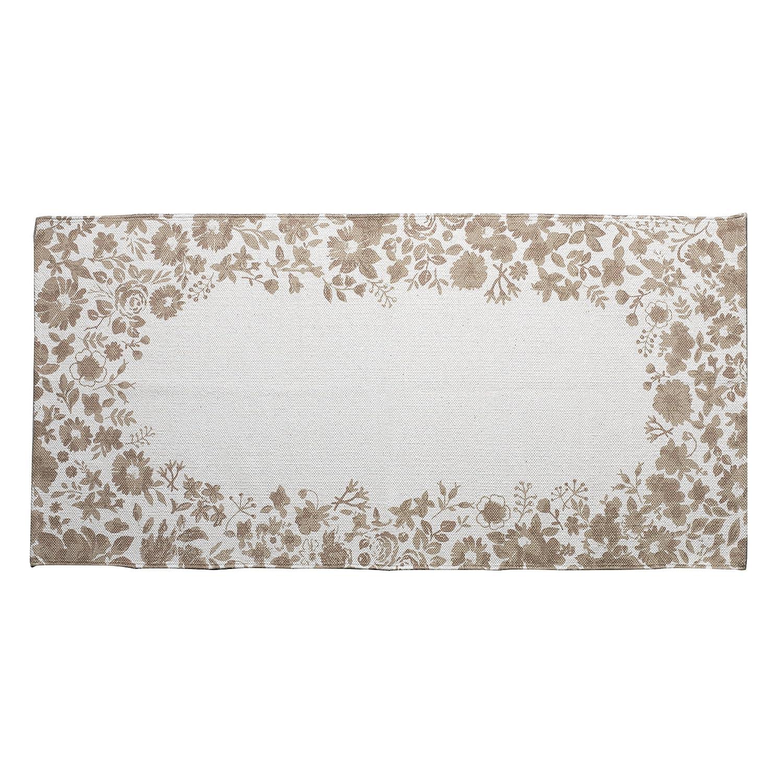 MONTEMAGGI Tappeto rettangolare in cotone beige decorato con bellissime stampe a fiori beige in stile shabby chic perfetto per decorare la vostra cucina ingresso o soggiorno. Dimensioni:70x140 cm MainApps