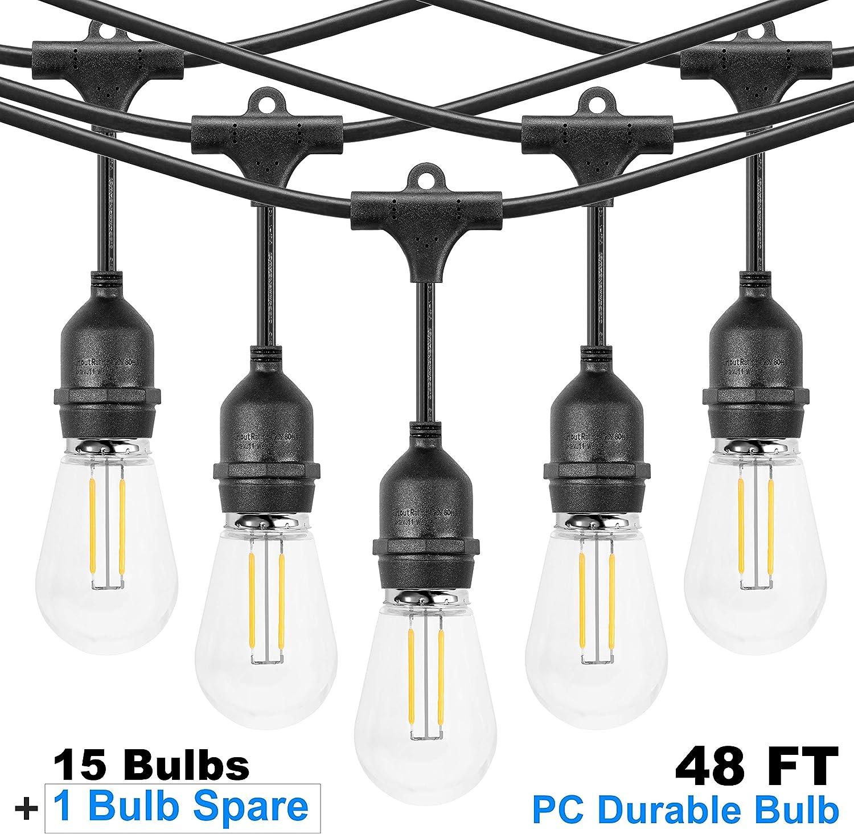 LED Outdoor 48FT String Lights, Waterproof & Patio Lights with 15 Hanging E26 sockets, Warm White, UL Polar Plug, Hanging in Cafe Bistro Gazebo Garden Backyard Light(16 Shatterproof PC Bulbs Include)
