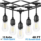 LED Outdoor 48FT String Lights, Waterproof & Patio Lights with 15 Hanging E26 sockets, Warm White, UL Polar Plug, Hanging in Cafe Bistro Gazebo Garden Backyard Light(16 Shatterproof PC Bulbs Include)