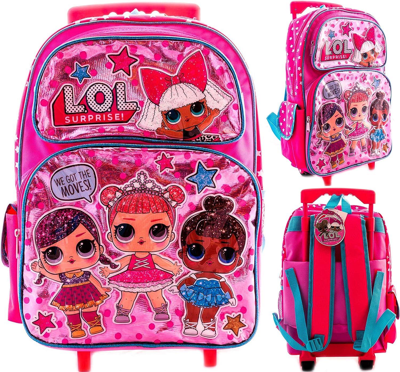 """L.O.L SURPRISE Pink Girl 16/"""" Large Backpack School Book Bag"""