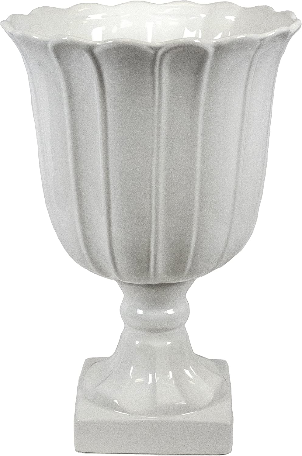 Sagebrook Home VC10479-01 Footed Vase, White Ceramic, 11 x 11 x 16 Inches