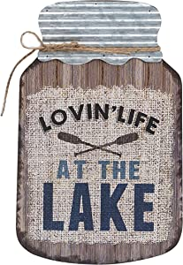 "Barnyard Designs Lovin Life at The Lake Mason Jar Decorative Wood and Metal Wall Sign Vintage Lake House Decor 14""x 9"""