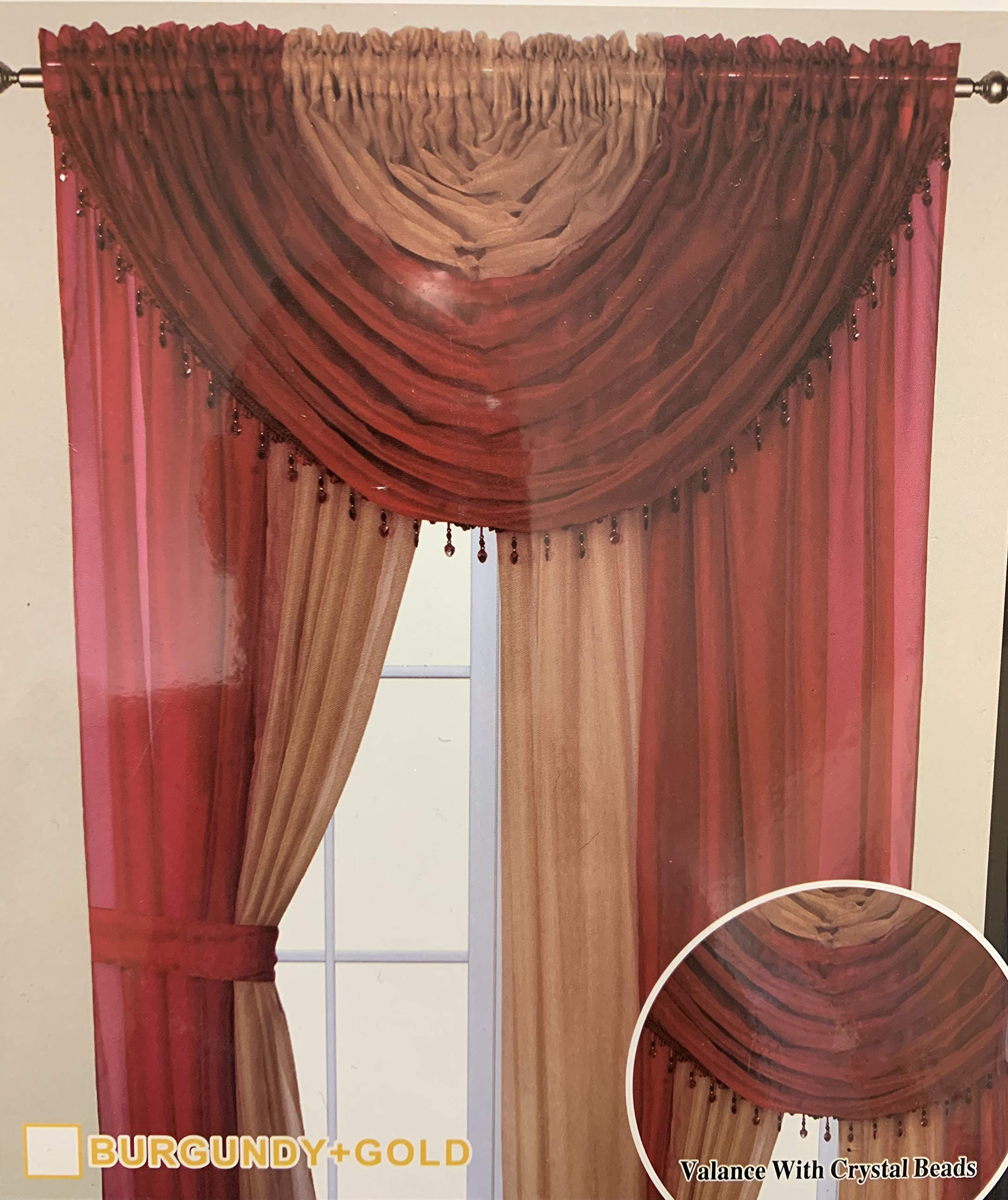 Elegant Home Complete Multicolor Window Sheer Curtain All-in-One Set with 4 Attached Panels and 2 Valances and Two Tiebacks for Living Room, Dining Room, Or Any Other Windows- L (Burgundy/Gold) by Elegant Home Decor