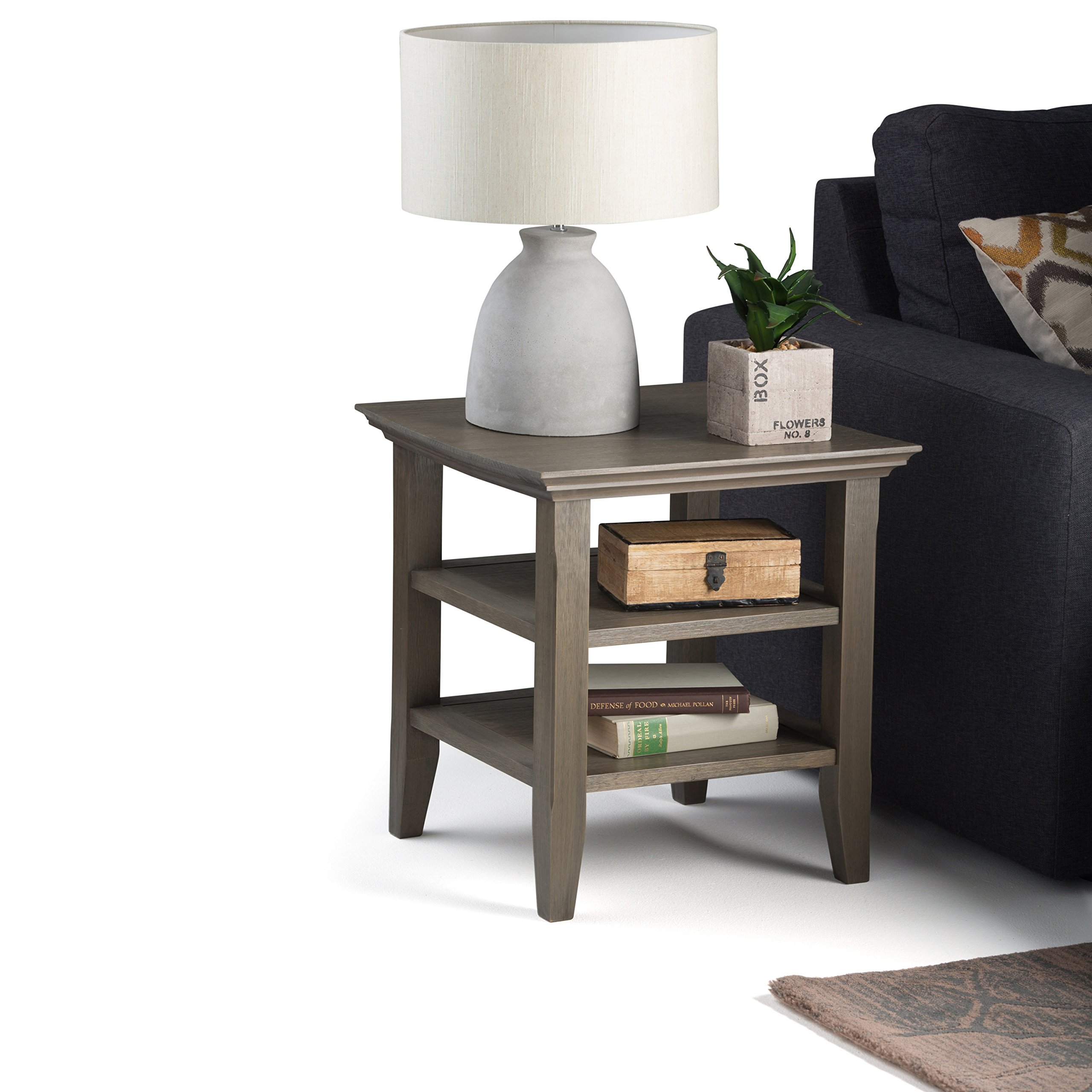 Simpli Home Acadian Solid Wood End Side Table, Farmhouse Grey by Simpli Home (Image #1)