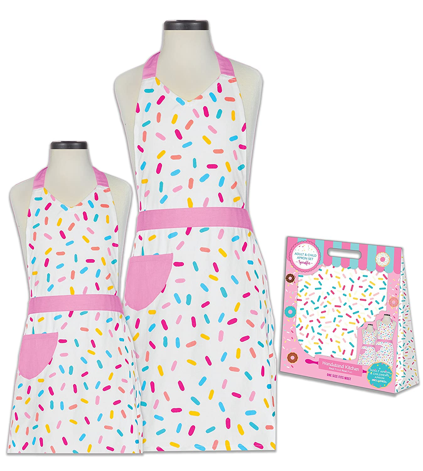 Handstand Kitchen Mother and Daughter Sprinkles 100% Cotton Apron Gift Set Handstand Kids LLC SPKL-MD