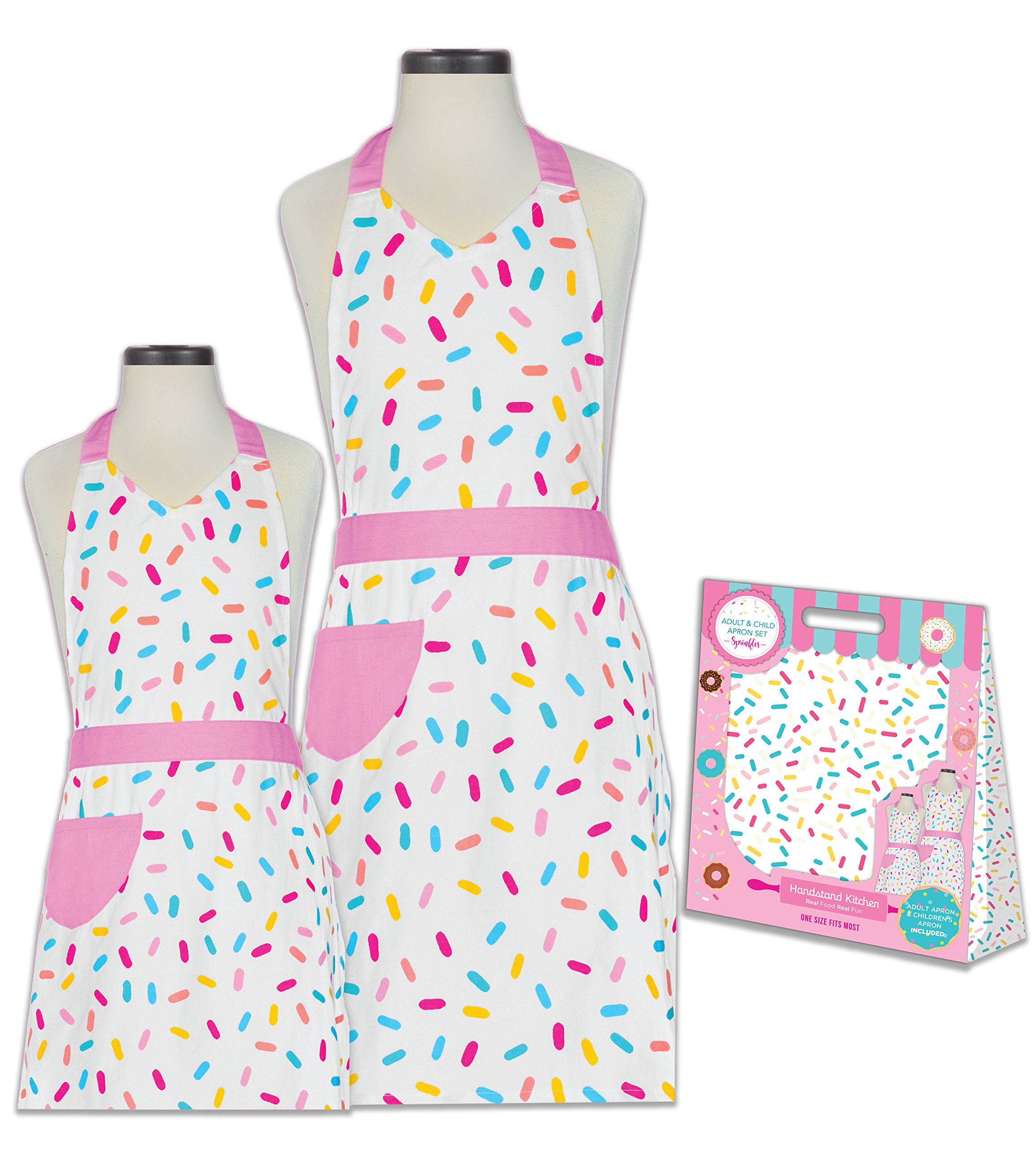 Handstand Kitchen Mother and Daughter Sprinkles 100% Cotton Apron Gift Set by Handstand Kitchen (Image #1)