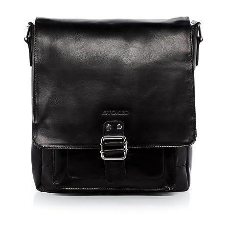 667c9c0b2645 STOKED large cross-body bag - messenger bag NATHAN fits tablet - iPad - shoulder  bag black leather  Amazon.co.uk  Luggage
