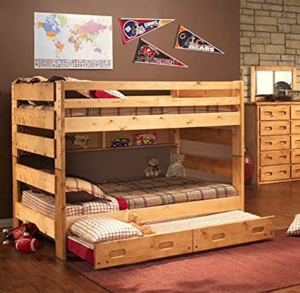 Amazon Com Full Over Full Bunk Bed In Cinnamon Kitchen Dining