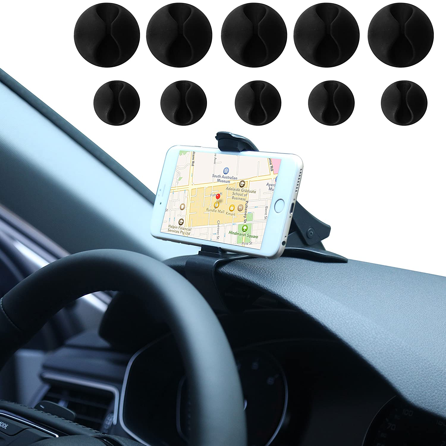 Black HSPSDASBLK1 Truck Smartphone Bracket Honsky No-Sight-Blocking Secure-Driving Clip-on Quick-Release Auto Cell Phone Mount with 10 Cable Clips Car Dashboard Phone Holder