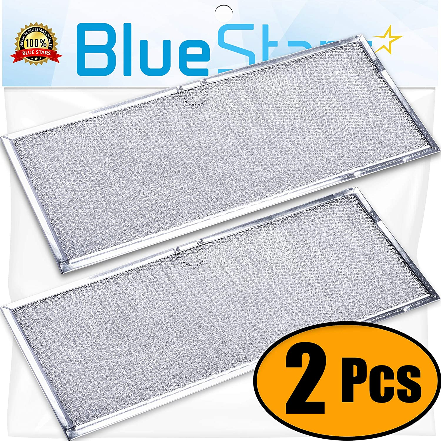 Ultra Durable 71002111 Aluminum Range Grease Filter Approx. 6-3/8 X 15-5/8 X 3/32 Inches by Blue Stars - Exact Fit for Jenn-Air & Kenmore Ranges - .Replace 715290, 8310P006-60, Y715290 - Pack of 2