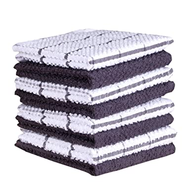 Terry Cotton Dishcloth Set of 8 ( 12 x 12 Inches ) , Gray , 100 % Cotton , Highly Absorbent Kitchen Dish Cloths , Machine Washable By CASA DECORS