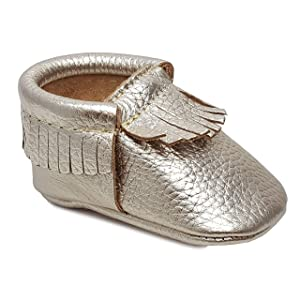First Steps Classic Premium Platinum Leather Moccasins Size 2