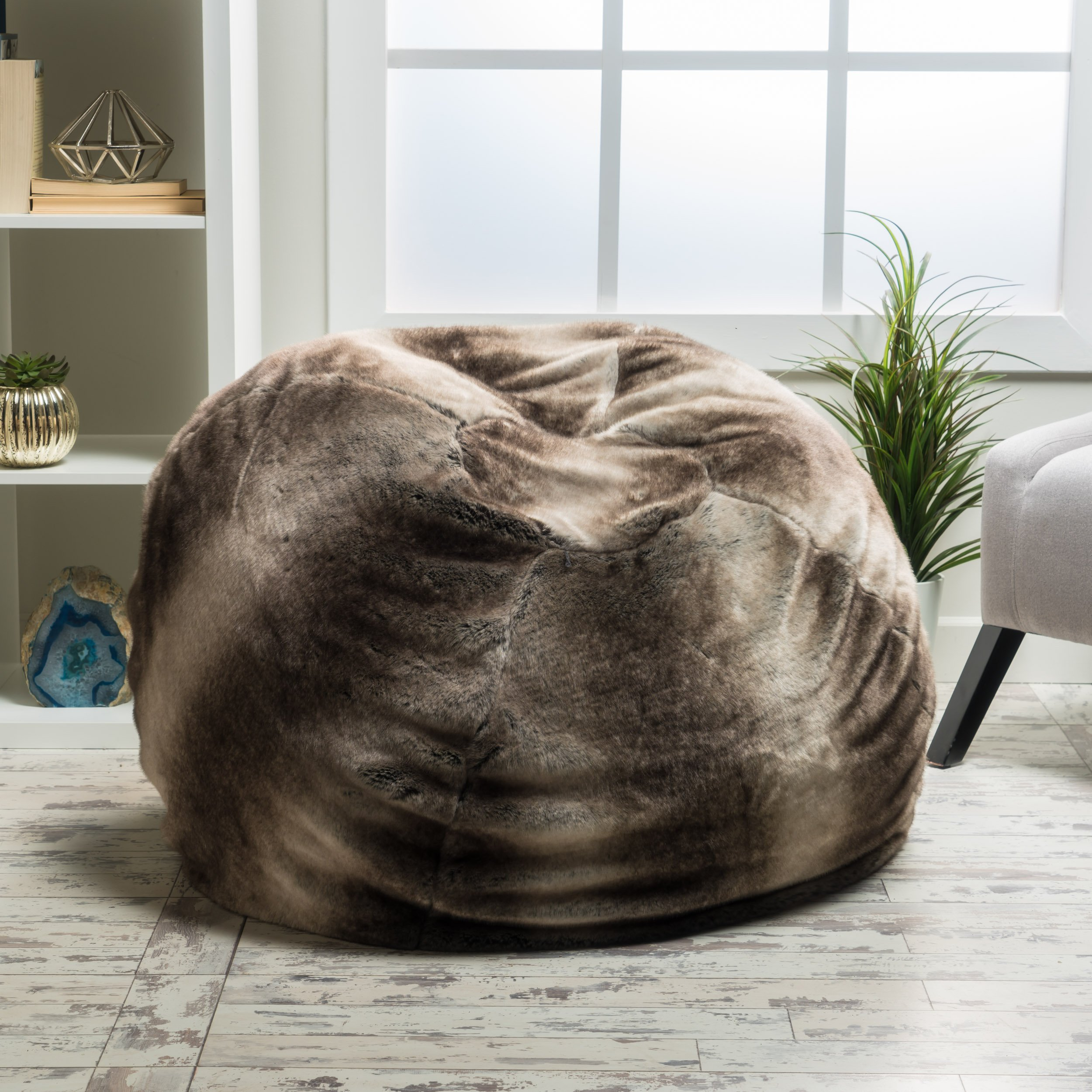 Meridian Bean Bag Chair | Plush Faux Fur Chair | Comfortable and Fun Beanbag for the Whole Family| Non-Spill Memory Foam Filling (Ash White) by GDFStudio