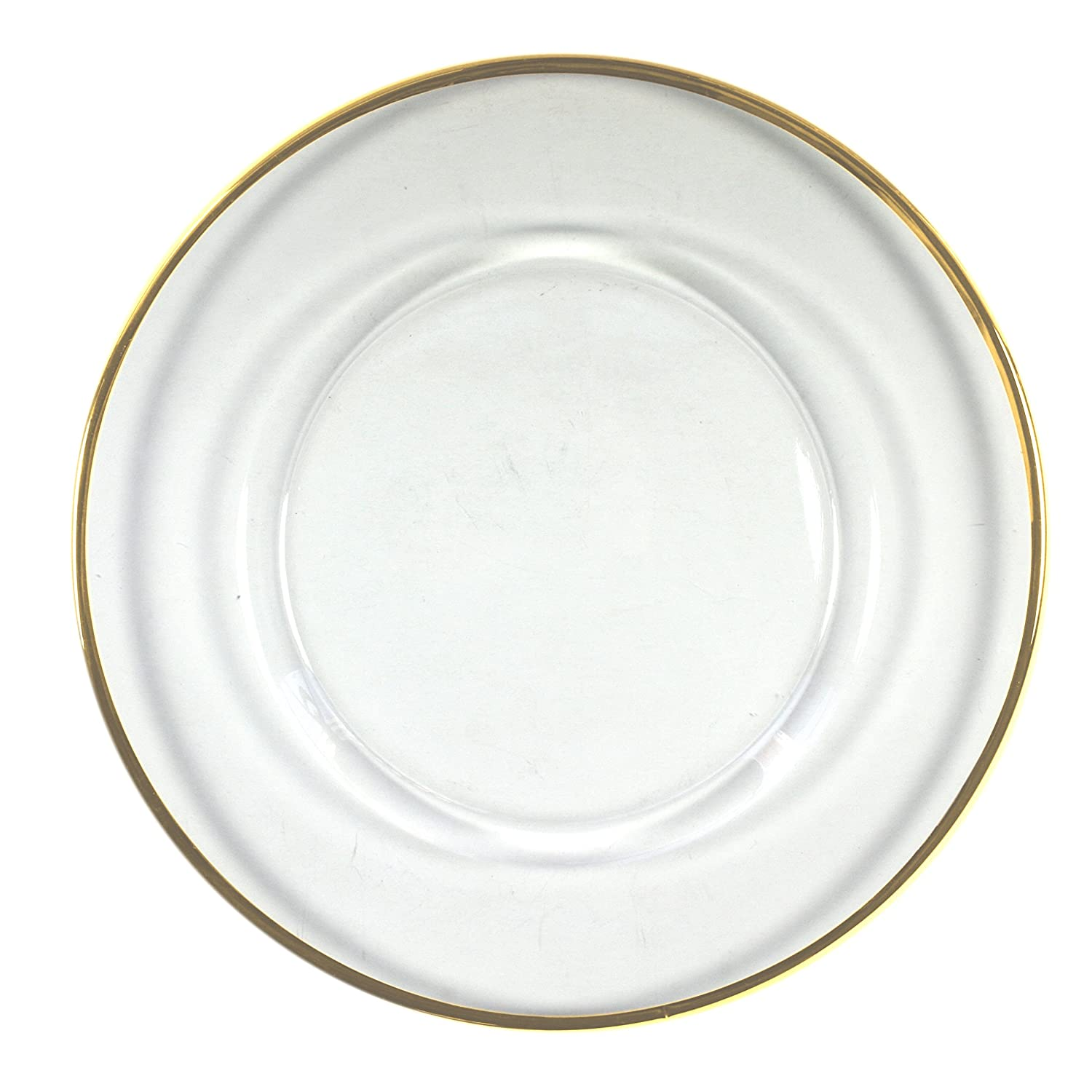 ChargeIt by Jay Round Glass Charger Plate with Gold Rim Jay Imports 1900002