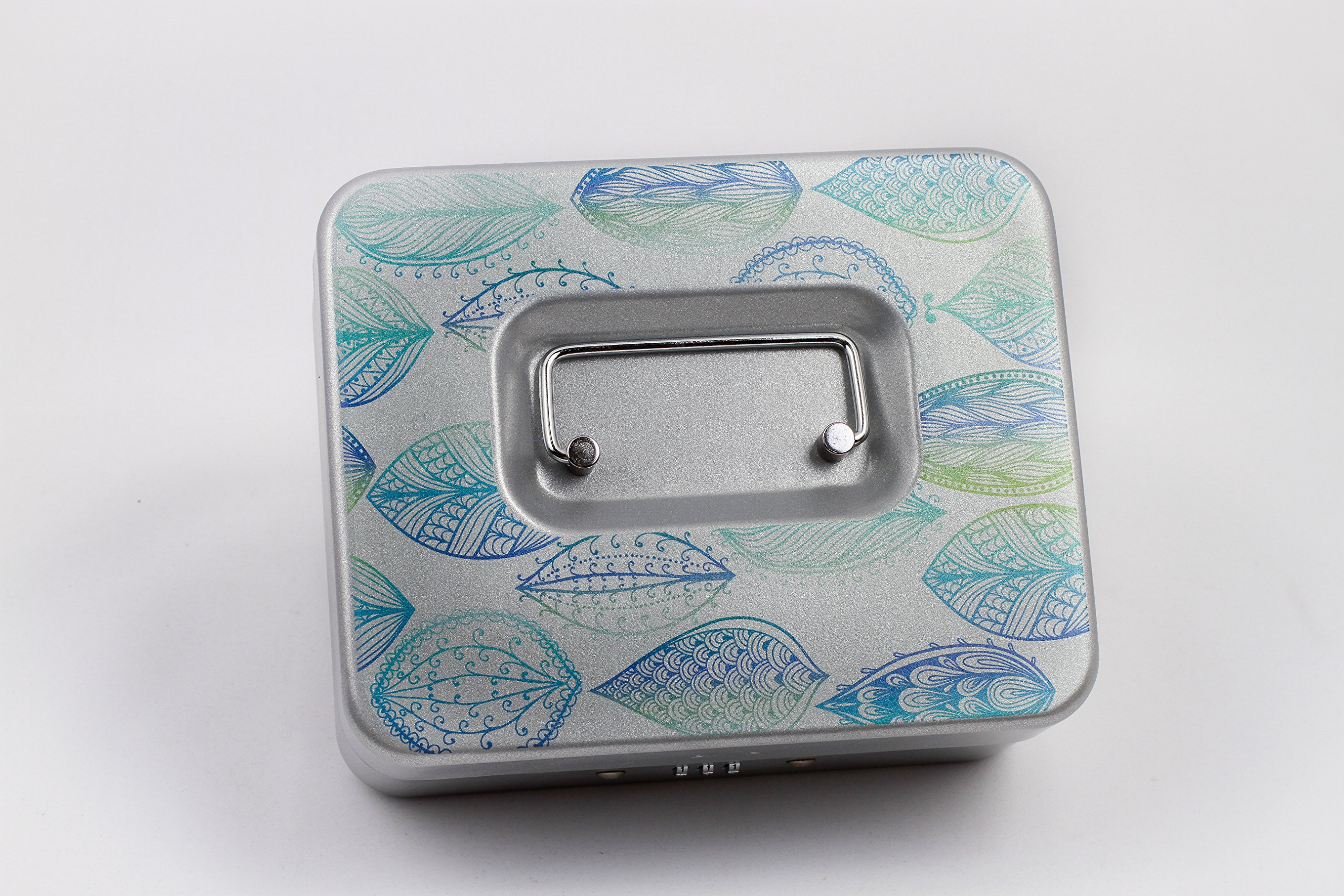 Watercolor Leaves   Personal Combination Lock Box   Medication Lock Box (Silver, Large)