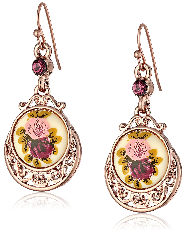 Amazoncom 1928 Jewelry Rose Gold Amy Flower Dangle Earrings