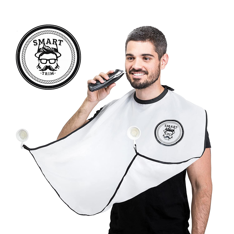Beard Catcher Bib Apron Beard Cape for Shaving-Hair Clippings Catcher & Grooming Cape Apron- Beard Shaving Bib Catcher for Easy Clean Up & a Clog-Free Drain by Smart Trim