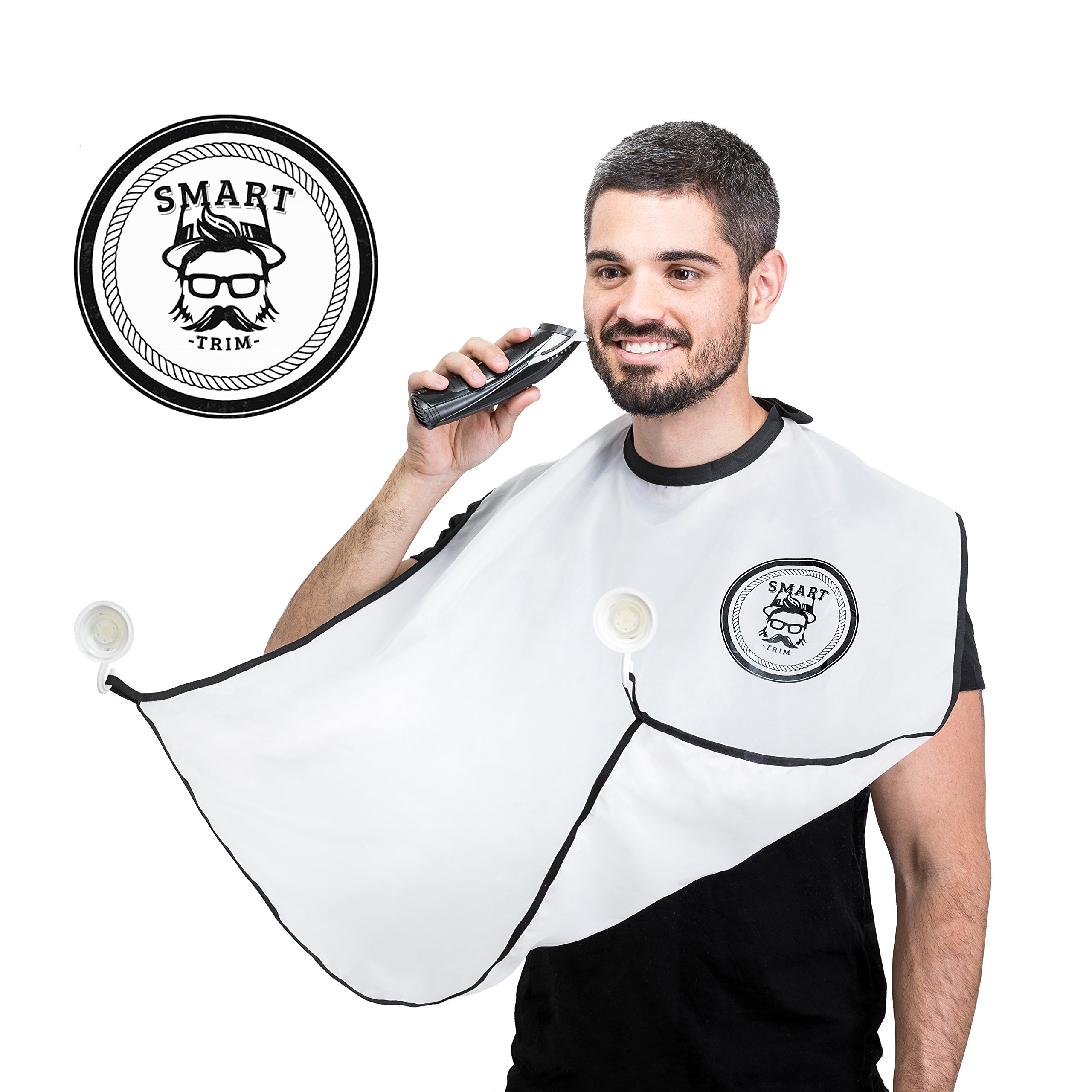 Beard Catcher Bib Apron Beard Cape for Shaving-Hair Clippings Catcher & Grooming Cape Apron- Beard Shaving Bib Catcher for Easy Clean Up & a Clog-Free Drain by Smart Trim