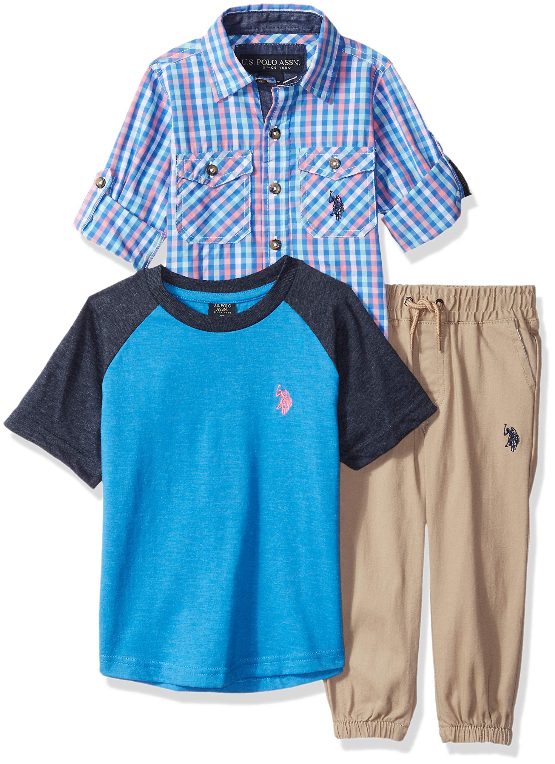 U.S. Polo Assn. Boys' Big T, Sport Shirt and Pant Set, Pink Multi Plaid, 10
