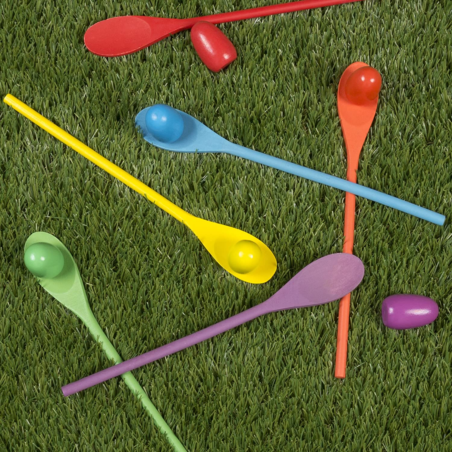 Indoor or Outdoor Balance Game for Adults and Kids by Hey Play! Wooden Egg and Spoon Race Game with 6 Spoons /& Eggs