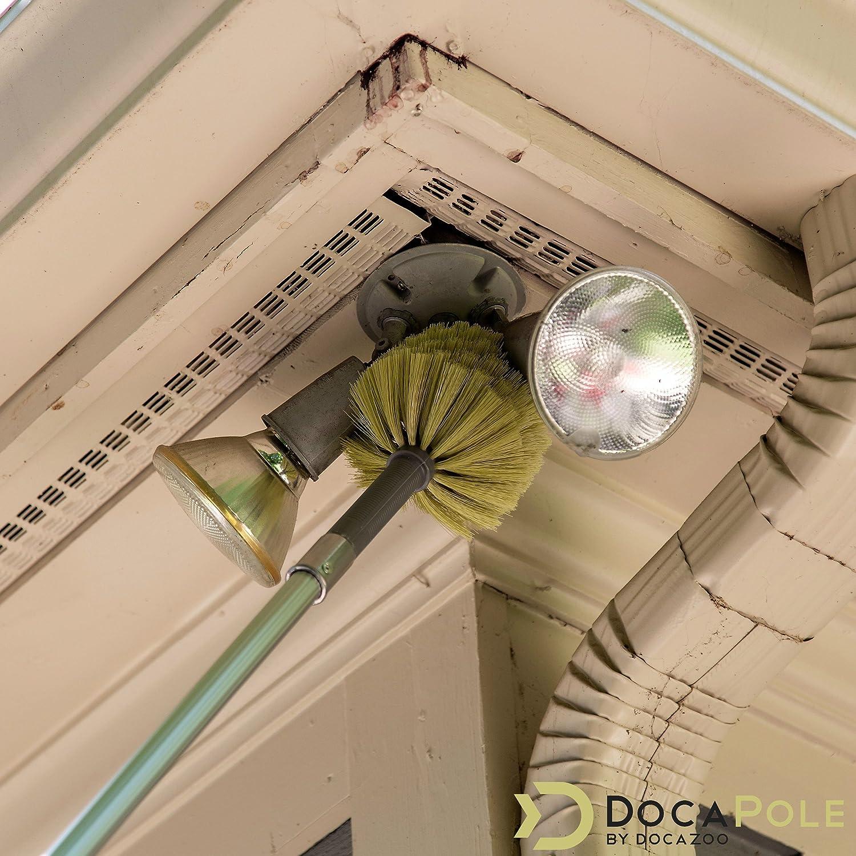 Kit de d/époussi/érage DocaPole de 6 m avec rallonge de 1,5-3,5m //// Le kit de nettoyage comprend 3 plumeau poussiere //// T/ête de Loup////Plumeau en microfibre //// Plumeau pour ventilateur de plafond
