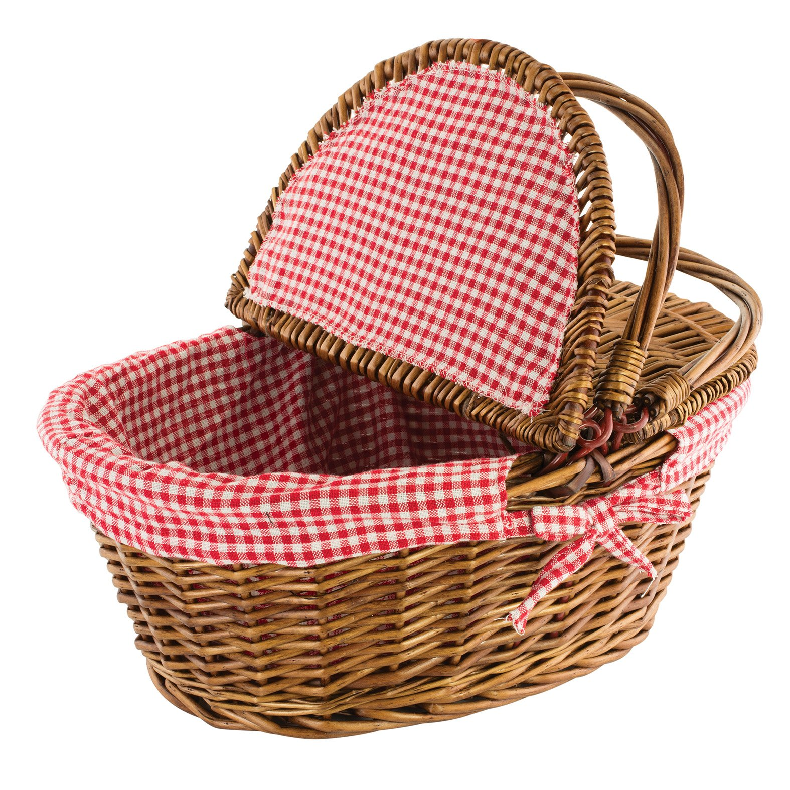 Kovot Country Style Wicker Picnic Basket with Folding Handles & Liners | Measures 16.5'' x 13.5'' x 7.5'' | for Picnics, Parties and BBQs