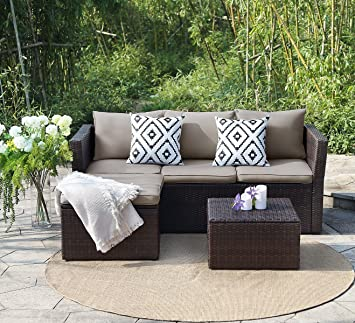 View U0026 Co Patio Furniture 3 PCS Outdoor Sectional Furniture Set P.E Rattan  Conversation Sets With