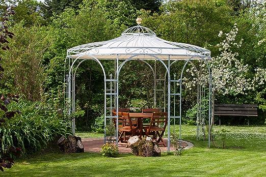 Eleo Florenz - Carpa de jardín de metal redondo con toldo, diámetro de 3, 7 metros (superficie: galvanizada): Amazon.es: Jardín