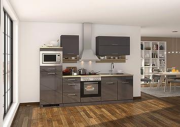 Held Möbel 568.1.6211 Mailand Küche, Holzwerkstoff, hochglanz grau ...