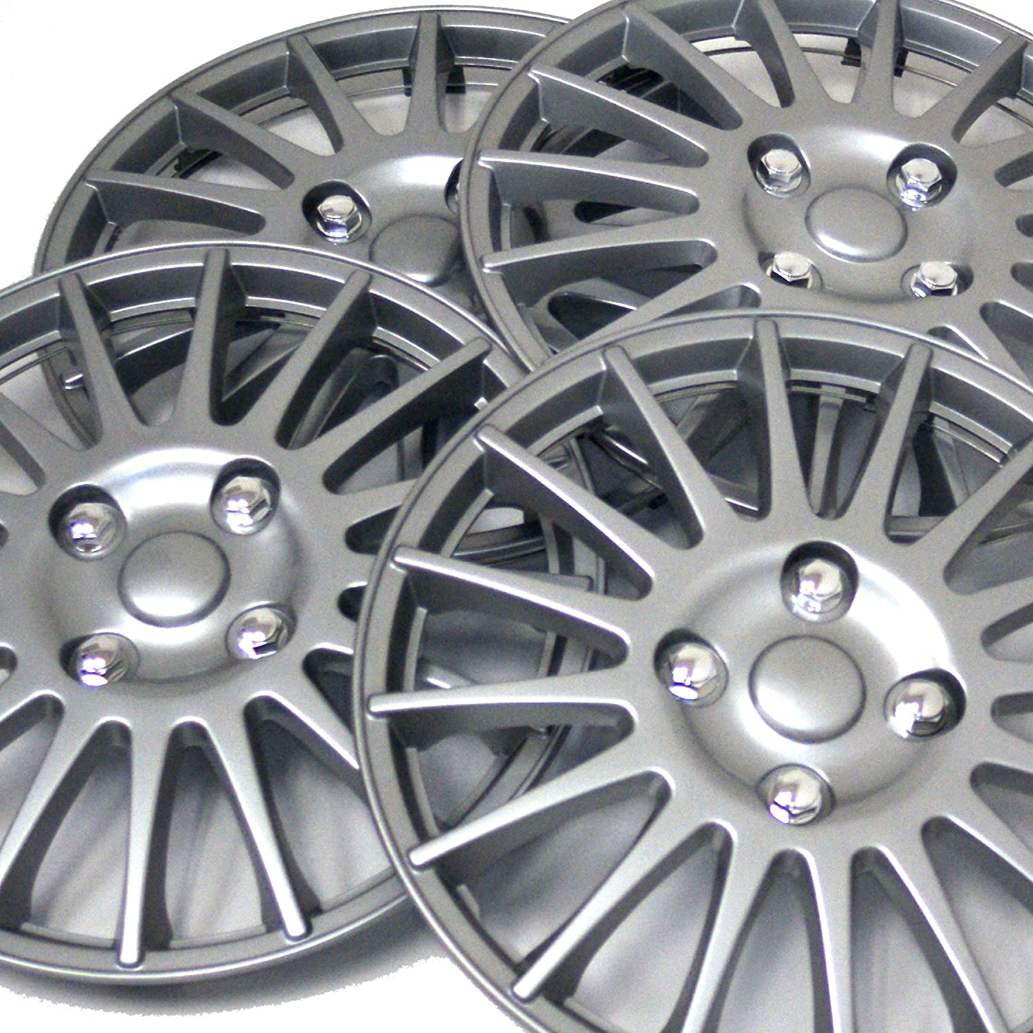 Pop-On Pack of 4 Hubcaps Type Metallic Silver Wheel Covers Hub-caps Tuningpros WC3-16-611-S 16-Inches Style 611 Snap-On