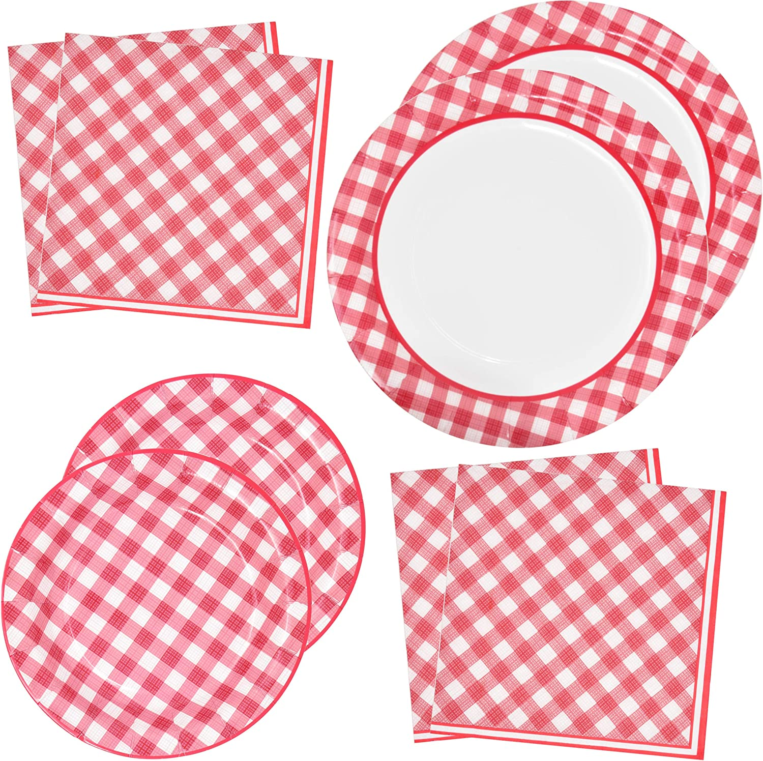 "Red Gingham Party Supplies Tableware Set 50 9"" Plates 50 7"" Plate 100 Luncheon Napkin Disposable Dinnerware Paper Goods Red & White Gingham Checkered Plaid Picnic Barbecue Birthday Party Gift Boutique"