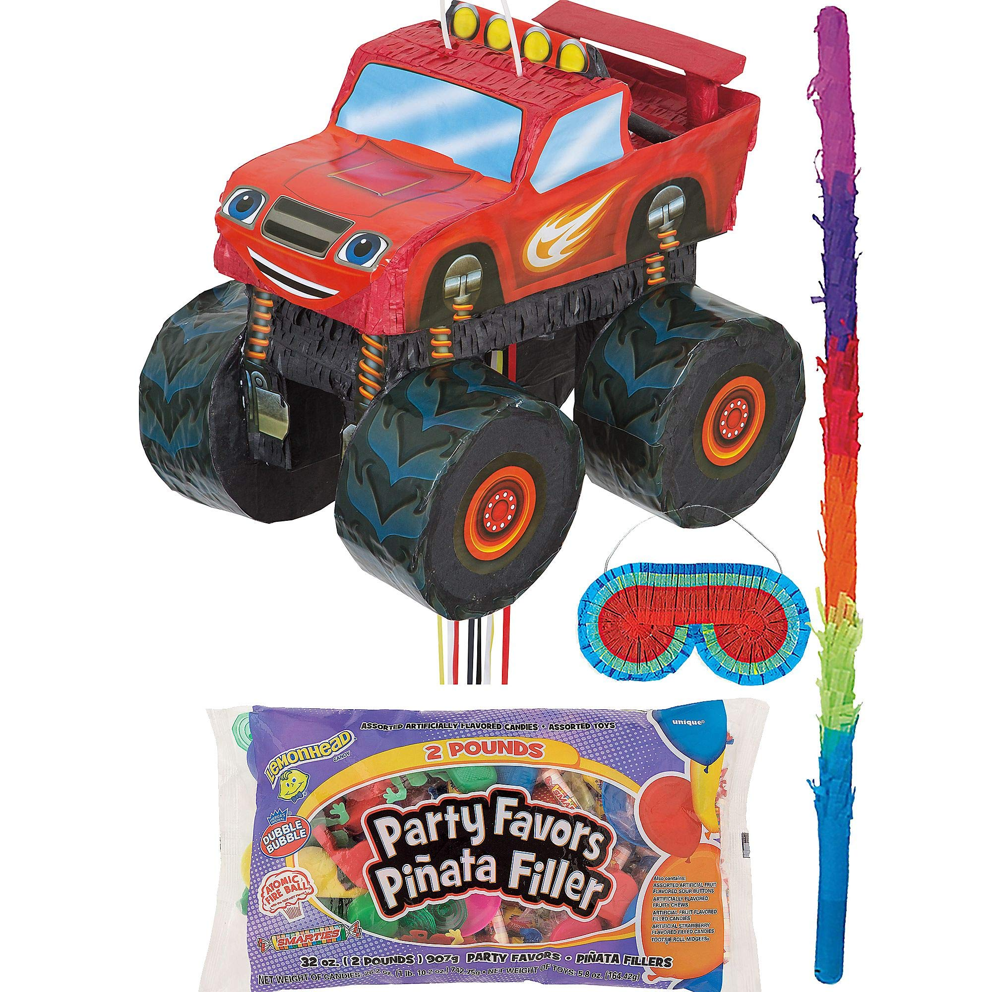 Party City Blaze and the Monster Machines Truck Pinata Kit for Birthday Party, Includes Bat, Blindfold, Candy and Favors