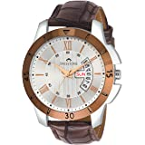 Swisstone G350-SLV-BRW Brown Leather Strap Wrist Watch for Men